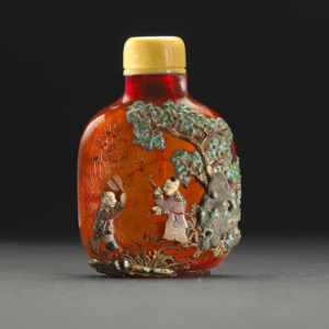Botella de tabaco japonesa de ámbar