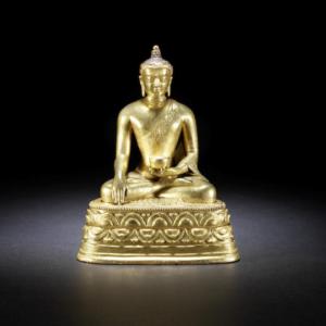 Figura de bronce dorado del Buda de la medicina