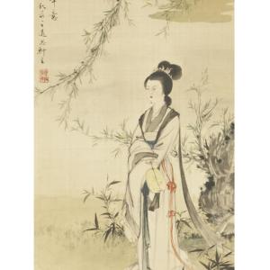 La belleza bajo el sauce firmado tui si an zhu,