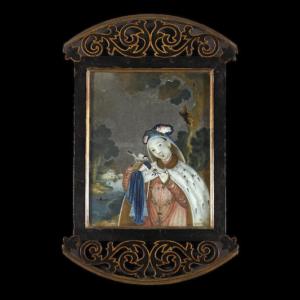 Una pintura al reverso de un vidrio de una belleza