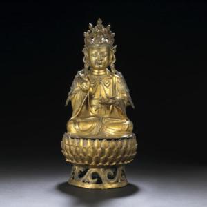 figura de bronce dorado Mahasthamaprapta