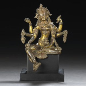 figura de bronce dorado Vasudhara de Himalaya