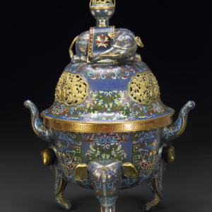 incensario de bronce dorado y esmalte Cloisonne